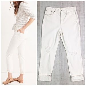 Madewell The High-Rise Slim Boy Jean in Tile White